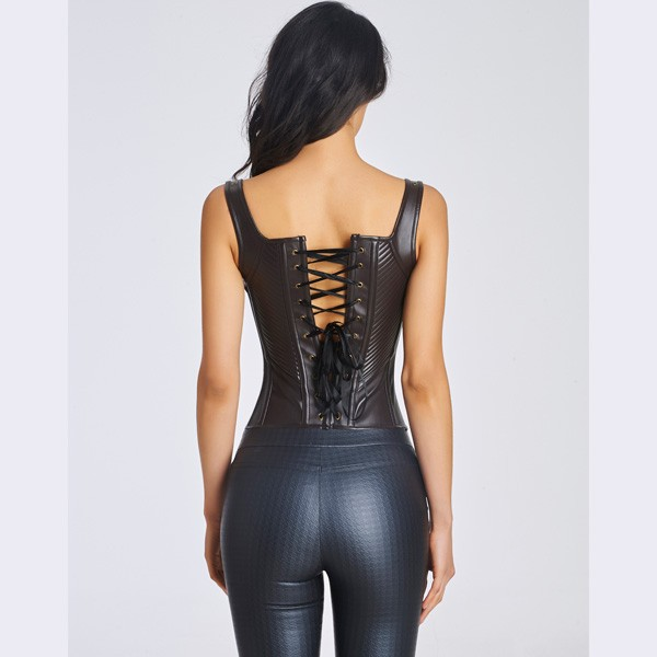 Women's Sexy Faux Leather Bustier Corset With Lace Up Back CF6022 black_04