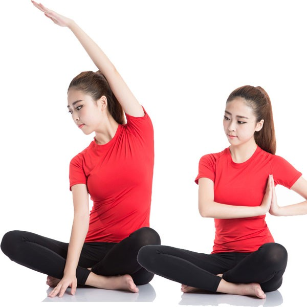 Women's Short Sleeve Elastic Athletic Compression Shirt CF2234 red_03