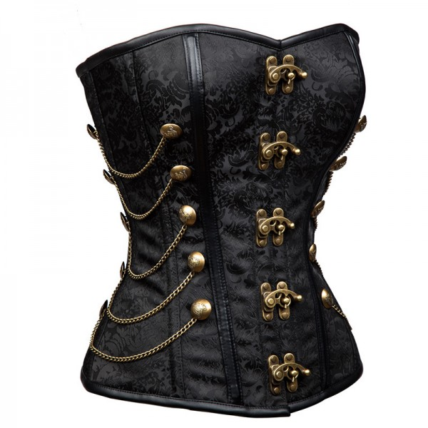Women's Steampunk Overbust Lace Up Brocade Steel Boned Corset with Chains CF8094 Black_03