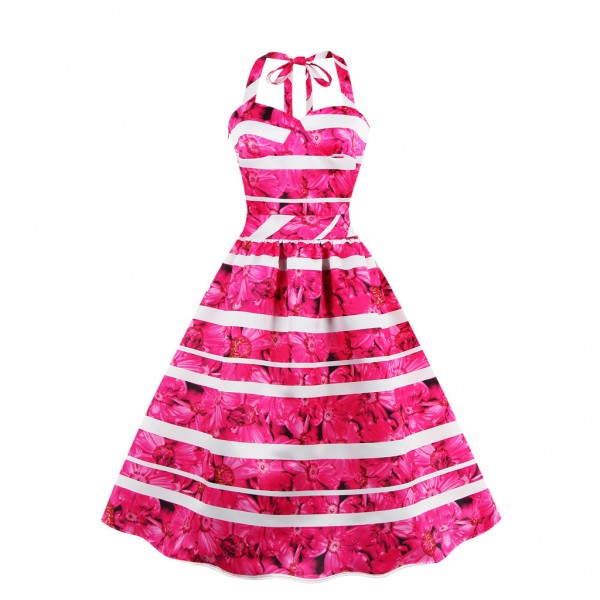 Women's Sweetheart Neck Evening Party Halter Vintage Rockabilly Swing Dress CF1431 Rose_02