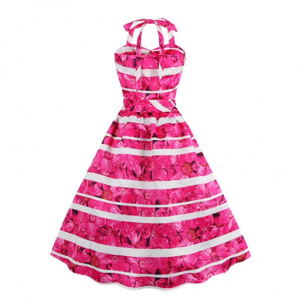 Women's Sweetheart Neck Evening Party Halter Vintage Rockabilly Swing Dress CF1431 Rose_01
