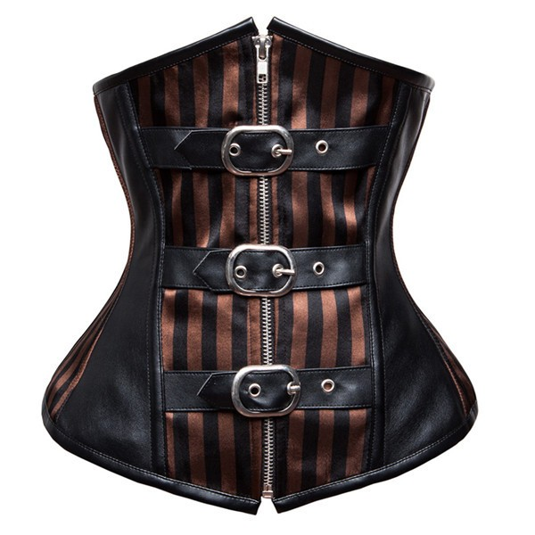 Women's Underbust Lace-up Steel Boned Pinstripe Goth Steampunk Corset CF8038 Black_01