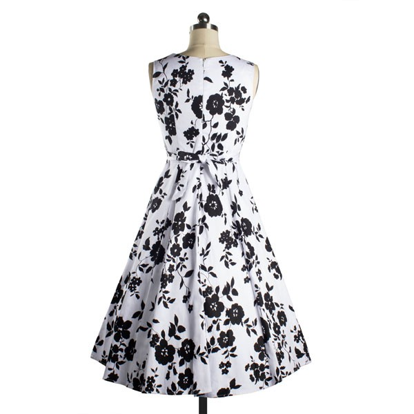 Womens 1950s Printing Floral Rockabilly Swing Vintage Dresses Party Dress black_03