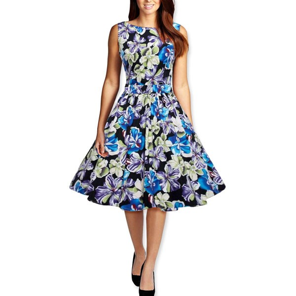 Womens 1950s Printing Floral Rockabilly Swing Vintage Dresses Party Dress dark blue_01