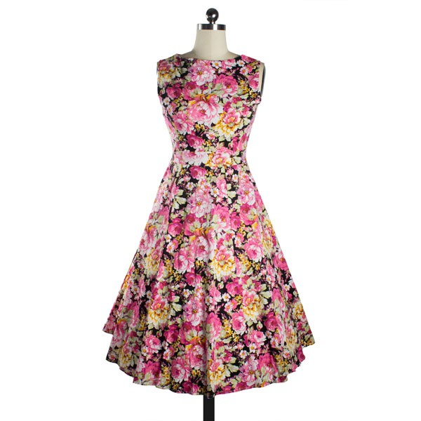 Womens 1950s Printing Floral Rockabilly Swing Vintage Dresses Party Dress pink