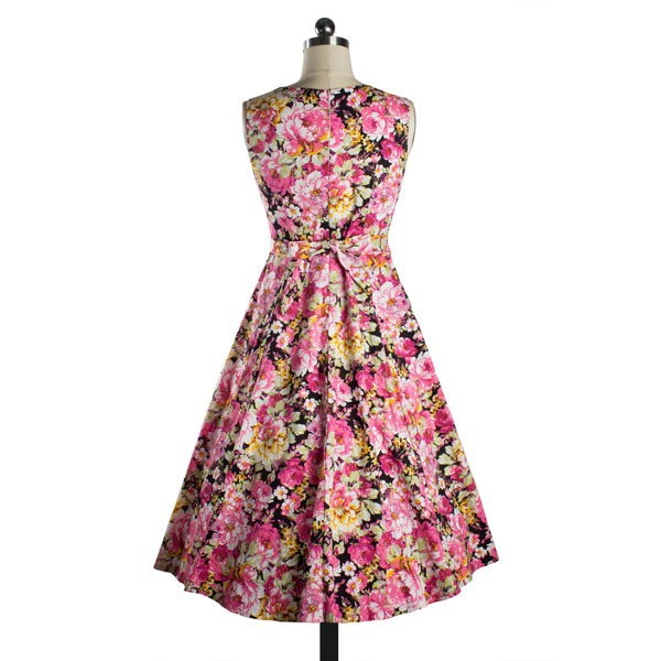 Womens 1950s Printing Floral Rockabilly Swing Vintage Dresses Party Dress pink_01