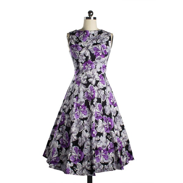 Womens 1950s Printing Floral Rockabilly Swing Vintage Dresses Party Dress purple