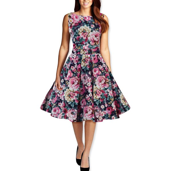 Womens 1950s Printing Floral Rockabilly Swing Vintage Dresses Party Dress rose red