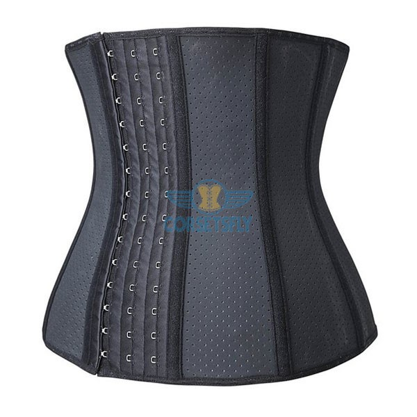 Womens Breathable Latex Sport Girdle Waist Training Corset Waist Shaper CF9009 Black_02