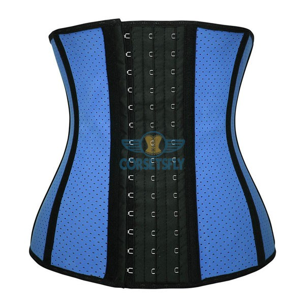 Womens Breathable Latex Sport Girdle Waist Training Corset Waist Shaper CF9009 Blue