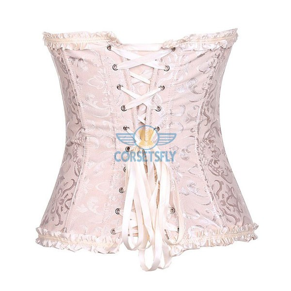 Womens Fashion Satin Classic Sweetheart Basque Lace Up Overbust Corset CF7042 Pink_01