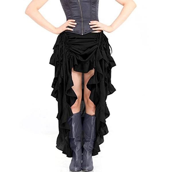 Womens Steampunk Victorian Gothic Costume Show Skirt Black