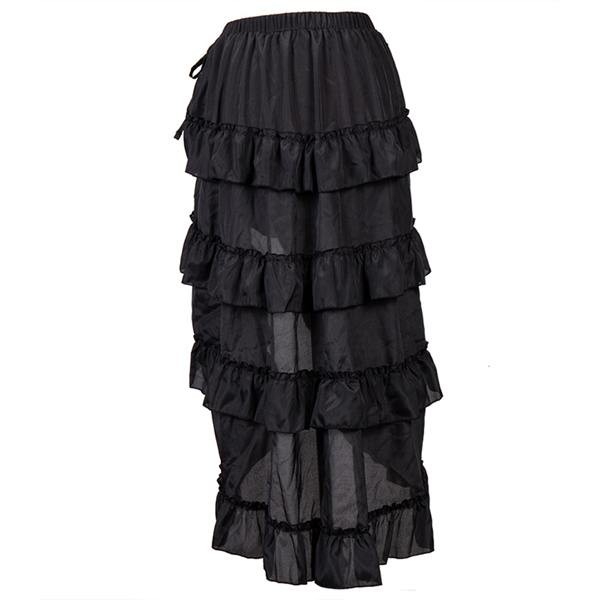 Womens Steampunk Victorian Gothic Costume Show Skirt Black_04