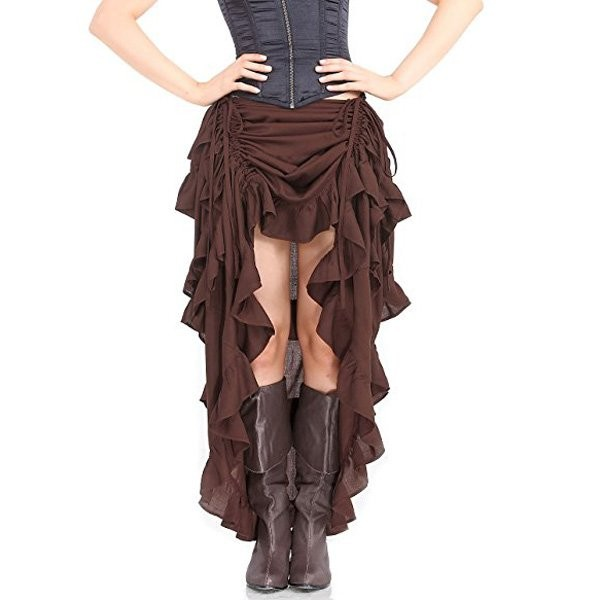 Womens Steampunk Victorian Gothic Costume Show Skirt Coffee_01
