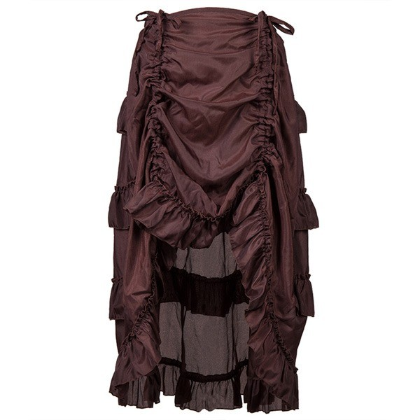 Womens Steampunk Victorian Gothic Costume Show Skirt Coffee_02