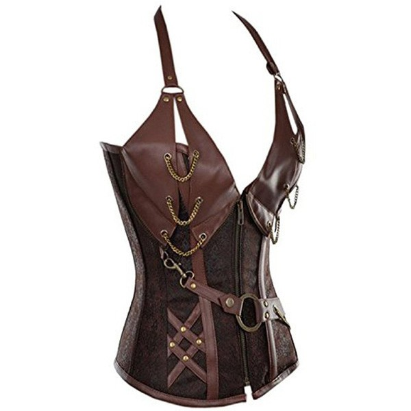 Womens Vintage Victorian Gothic Spiral Steel Boned Steampunk Outfits Corsets CF8082 Brown_01