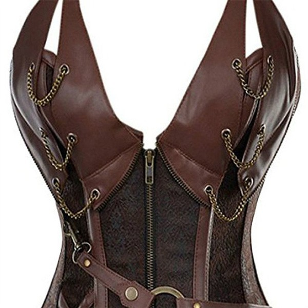 Womens Vintage Victorian Gothic Spiral Steel Boned Steampunk Outfits Corsets CF8082 Brown_02