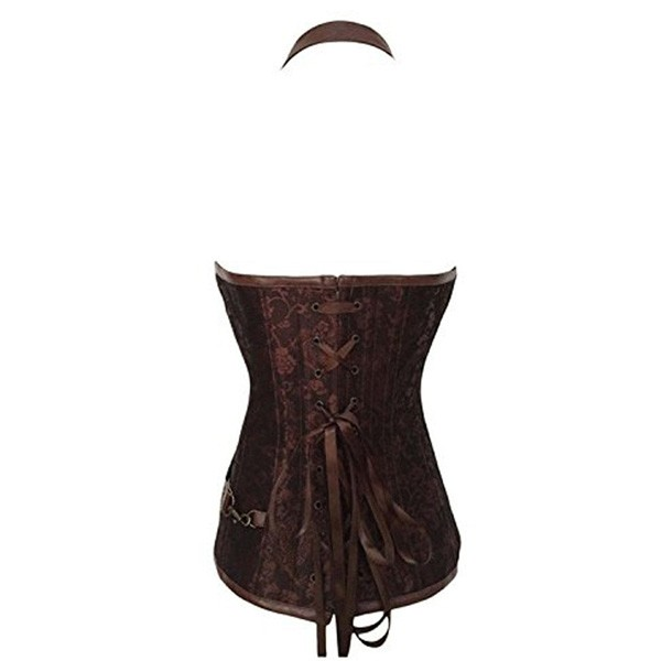 Womens Vintage Victorian Gothic Spiral Steel Boned Steampunk Outfits Corsets CF8082 Brown_03
